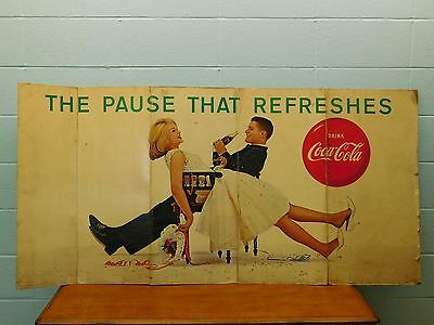 """Coca-Cola ~ Large Fold Out Poster ~ Advertising Litho ~""""The Pause That Refreshs"""""""