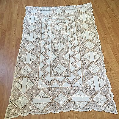 """Vintage Handmade Intricate Cluny Fillet Lace Tablecloth 38"""" X 67"""" - Cream Ecru"""