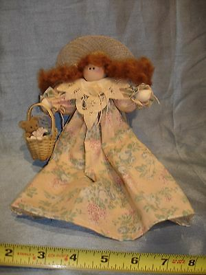 LIZZIE HIGH Style shelf sitter or hang display country folk art doll three bear