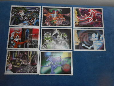 Set of 8 ALIEN SIGHTINGS 1994 Postage Stamp Panels MNH Nicaragua
