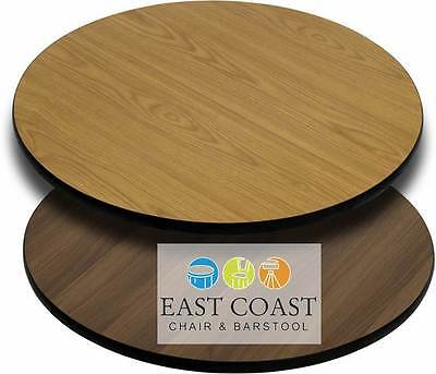 """CLOSEOUT: New 48"""" Round Commercial Reversible Cafe Table Top (Oak/Walnut)"""