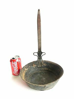 1900's ANTIQUE Hand Hammered Tinned Copper Pot Pan Engraved WROUGHT IRON Handle
