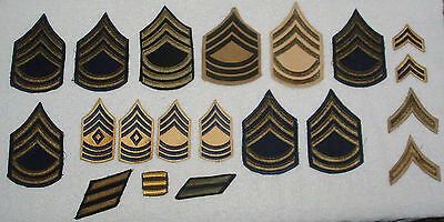 Large Lot of 34 Vintage US ARMY CHEVRON SARGENT FIRST CLASS, MASTER SARGENT ETC