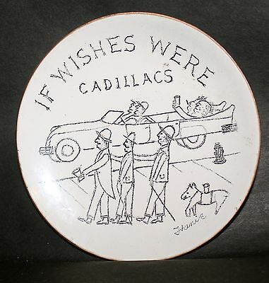 "Cloisenamel Coin Dish ""if Wishes Were Cadillacs"""