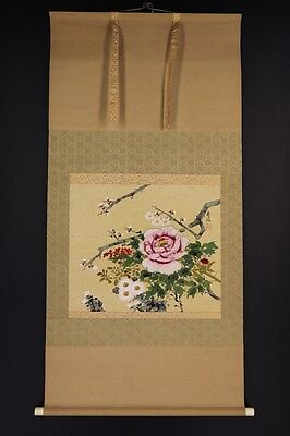 """JAPANESE HANGING SCROLL ART Painting """"Flowers"""" Asian antique  #E5855"""