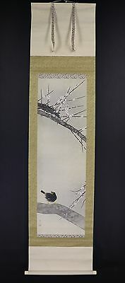 JAPANESE HANGING SCROLL ART Painting Bird and Flower Asian antique  #E5868