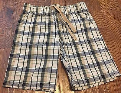 Gymboree Boy 3T Plaid Elastic Waist Shorts Bottoms Blue Tan White Pockets
