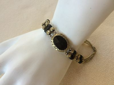 Outstanding GEORGIAN 10K Gold & Onyx Bracelet w/Cannetille Work - Early 1800s