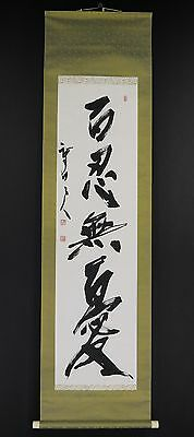 JAPANESE HANGING SCROLL ART Calligraphy  Asian antique  #E5886