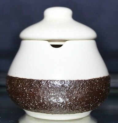 Retro HANSTAN Pottery Lidded Sugar Bowl Cream With Textured Brown Band C1970's