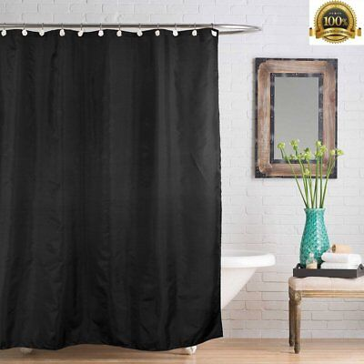 Plain Fabric Bathroom Shower Curtain Weighted Hem Extra Long with Hooks Black