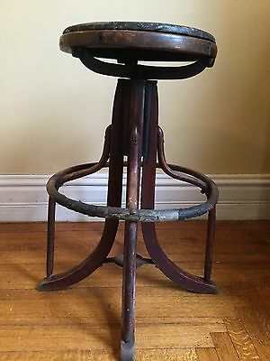 Antique drafting stool chair Vintage cast iron wood restorable parts table