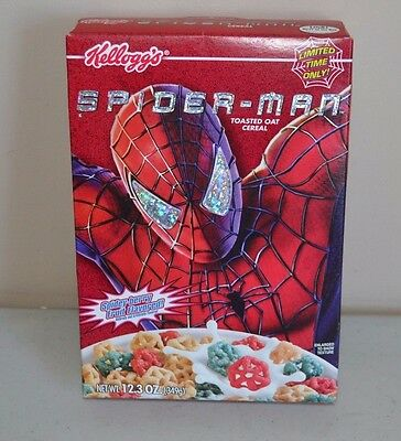 Marvel Spider-Man Cereal Box Kellogg's 2002 (FULL BAG) (UNOPENED) 12.3 OZ