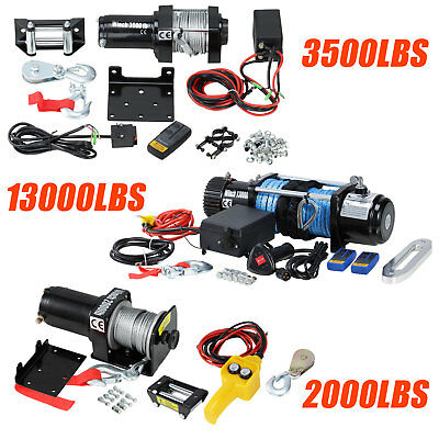 12V Heavy Duty Electric Recovery Winch Kit 2000 3500 13000LBS Remote Control New