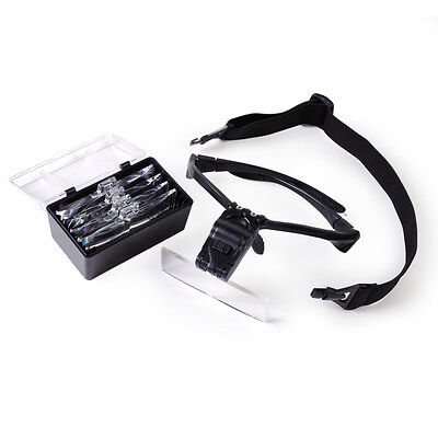 2-LED Headband Headset Head Light + 5-Lens Magnifier Magnifying Glass Loupe