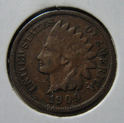 1909 1c Indian Head Cent Vf Coin Very Fine