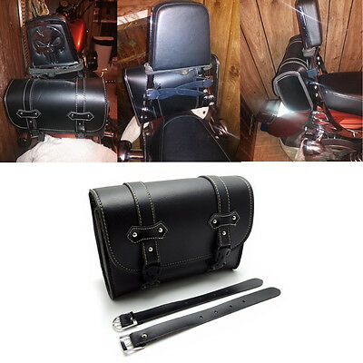Motorcycle Luggage Bag Rear Side Storage Tool Pouch Sissy Bar Travel Bag Black