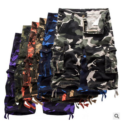 Mens Military Combat Camo Cargo Shorts Pants Work Casual Army Long Trouser