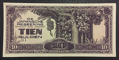 WWII Japanese Occupation Money- Tien Gulden Dutch East Indies UNCIRCULATED