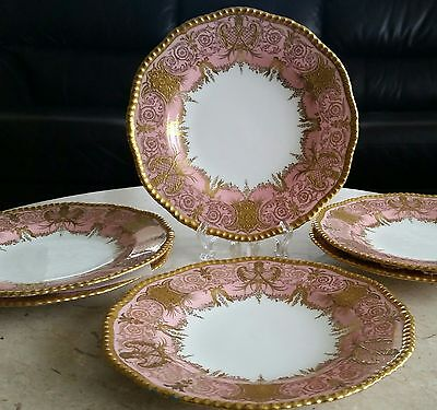 "~ Six~ Gorgeous  9"" Antique Coalport Plates~Gold Encrusted, 1891-1919"