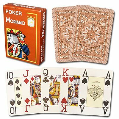 Modiano 100% Plastic Playing Cards Brown Cristallo 4 PIP JUMBO INDEX