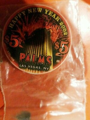 Palm's $5 Casino Chip. Happy New Year- 2002- Excellent Condition