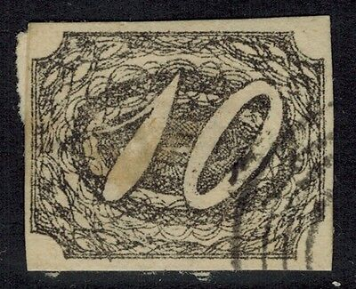 """Brazil #7, 1844 10r black FORGERY on paper """"used"""" looks F/VF"""
