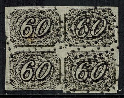 """Brazil #9, 1844 60r black FORGERY block of 4 """"used"""", VF"""