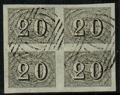"""Brazil #22, 1850 20r black FORGERY block of 4 """"used"""", VF"""