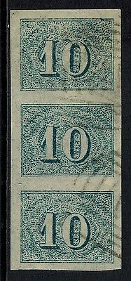 """Brazil #37, 1855 10r blue FORGERY strip of 3 """"used"""", VF"""