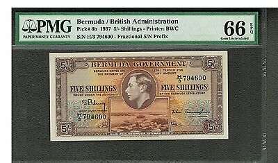 Bermuda 1937 To 1947 5/, 10/, £1, £5 King George Vi Immaculate Specimen Set