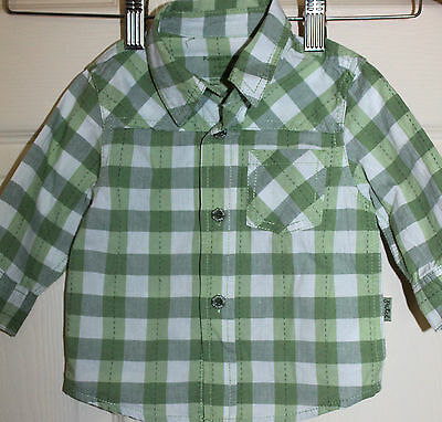 New noTags PUMPKIN PATCH Baby Boys green/white Check SHIRT size 3-6 months