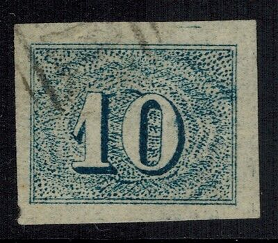 """Brazil #37, 1854 10r blue FORGERY """"used"""" VF"""