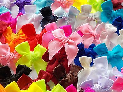 100! 3cm Satin Bows For Card Making - Great Colour Mix Bow Embellishments!