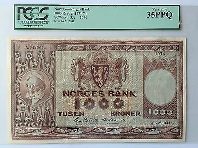 Norway 1000 Kroner P35e Brofoss Odegaard Dated 1974 Graded PCGS 35PPQ VF