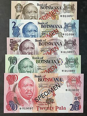 Botswana 1 2 5 10 & 20 Pula Specimen Set of 5 Notes With Matching Numbers UNC