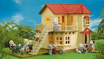 SALE Sylvanian Families Beechwood Hall Dolls House with Working Lights 4531 -...