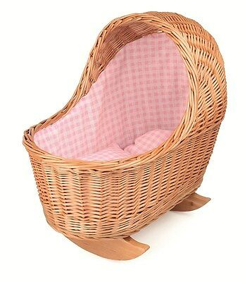 Egmont Wicker Dolls Cradle with Pink Gingham Bedding