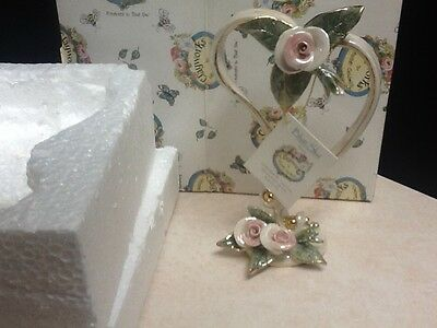 Ribbon Heart with Rose Wedding Topper by Heather Goldminc for Blue Sky Clayworks
