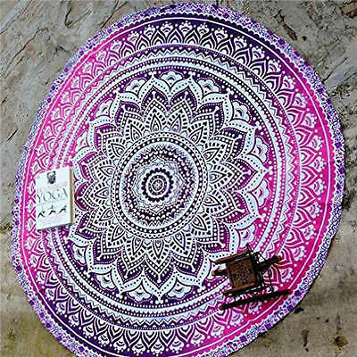 Boho Tapestry Beach Throw Towel Mandala Round Indian Hippie Picnic Blanket #4
