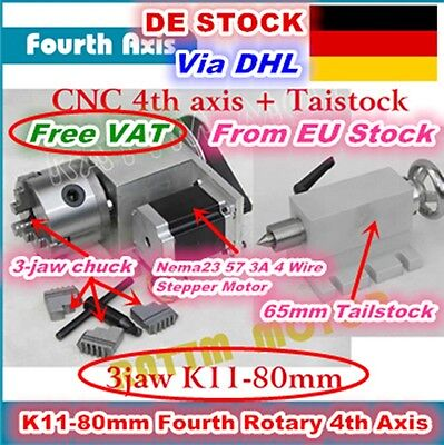【DE Stock】Rotation Fourth 4th Axis K11-80mm 3 Jaw Chuck&Tailstock For CNC Router
