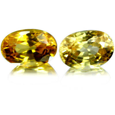 Natural 1.77ct 6x4mm(2pcs) Dazzling Top Fire Sparkling Yellow Sapphire _ Africa