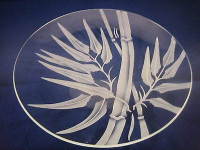 Hawaii Art Glass Bamboo Etched Pattern Plate 10 1/4 inches