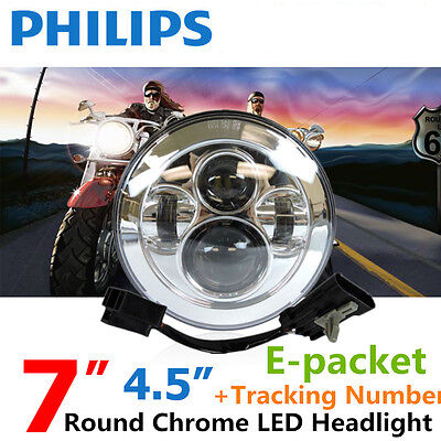 "7"" Motorcycle Chrome Projector Daymaker Headlight High/Low LED Light Bulb Harley"