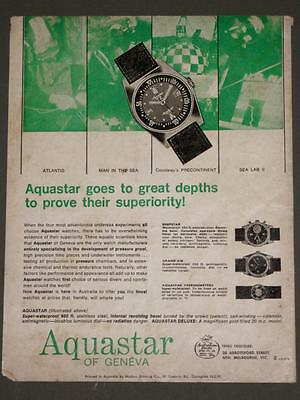 Vintage 1967 Print ADVERTISEMENT, AQUASTAR DIVERS WATCHES -