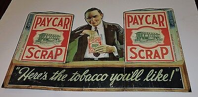 Pay Car Scrap Tobacco Early Tri-Fold Store Display Sign Trolley Cars