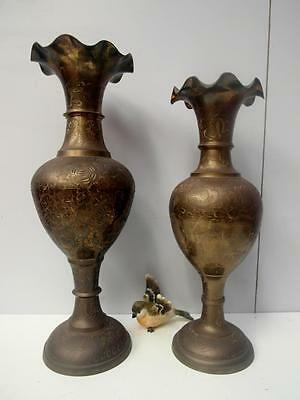 Pair of VINTAGE Etched BRASS Vases Made in INDIA 46cm & 41cm QZZQ Adelaide Free