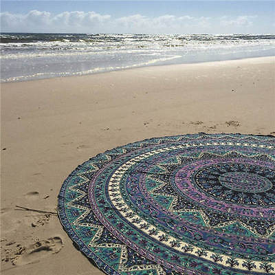 Boho Tapestry Beach Throw Towel Mandala Round Indian Hippie Picnic Blanket #6