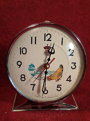1960-s VINTAGE ALARM CLOCK with ANIMATED HEN SHANGHAI CHINA