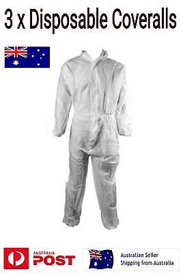 3 x Disposable Coveralls Overall Size L White with Hood Lightweight Breathable